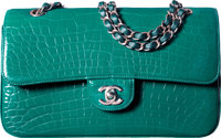 Chanel Shiny Emerald Green Alligator Medium Classic Double Flap Bag with Light Gold Hardware Condition: 1 10