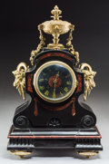 Timepieces:Clocks, A Beaux Arts Slate, Marble, and Gilt Bronze Mantle Clock, late 19th century. 17 h x 11-1/4 w x 6-1/8 d inches (43.2 x 28.6 x...