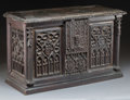 Furniture : Continental, A Gothic-Style Oak Chest, 19th century in part. 17-1/8 h x 28 w x11-1/4 d inches (43.4 x 71.1 x 28.6 cm). ...