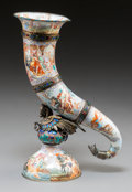 Decorative Arts, Continental:Other , A Viennese Enameled Silver Horn of Plenty Cornucopia withAllegorical Scenery, late 19th-early 20th century. 10-5/8 inchesh...