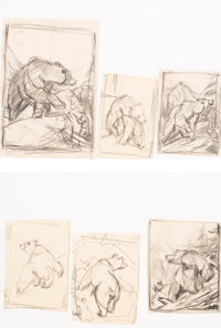 Philip Russell Goodwin (American, 1882-1935) Group of Outdoor Life Magazine cover studies, artist's sketches, a