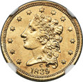 Classic Quarter Eagles, 1839-C $2 1/2 -- Cleaned -- NGC Details. AU. Breen-6149, Winter-3, Variety 24, R.4....