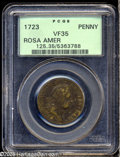 1723 PENNY Rosa Americana Penny VF35 PCGS. Breen-122, No stop after Small 3. A nicely defined piece with blended brassy...