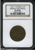 Colonials: , 1760 1/2P Hibernia-Voce Populi Halfpenny, P Before Face XF40 NGC.Z. 15-N, N.12. An attractive golden-brown example, perfec...