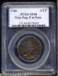 Colonials: , 1760 1/2P Hibernia-Voce Populi Halfpenny, P Before Face XF40 PCGS.Z. 15-N, N.12. A chocolate-brown representative, nicely ...