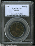 Colonials: , 1786 COPPER New Jersey Copper, Bridle XF40 PCGS. Maris 18-M, R.1.The 'wide shield reverse' marriage of the popular Bridle ...