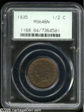 1835 1/2 C MS64 Brown PCGS. B-2, C-2, R.1. An intricately struck near-Gem, light golden-brown color accompanies the obve...