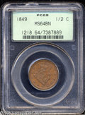 1849 1/2 C Large Date MS64 Brown PCGS. B-4, C-1, R.2. A beautiful chocolate-brown example that has hints of original cri...