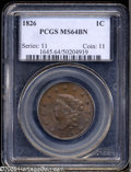 Large Cents: , 1826 1C MS64 Brown PCGS. N-6, R.2. Ex: Wright Plate Coin. Noyes' 1991 Condition Census for this issue includes coins that g...