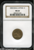 Flying Eagle Cents: , 1858 1C Small Letters MS64 NGC. A lustrous and pleasingchestnut-tan near-Gem. Refreshingly unabraded, and intricatelystru...