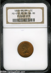 """1893 1C MS66 Red NGC. FS-10.95, Snow-2, """"Scarce."""" The 893 in the date is noticeably repunched. A lustrous oran..."""