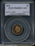 Proof Indian Cents: , 1878 1C PR65 Cameo PCGS. Sharply struck with amazingly deepreflectivity in the fields, for the type, stark cameo contrast ...