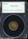 Proof Indian Cents: , 1880 1C PR65 Red PCGS. Lustrous copper-gold surfaces. The fields are semi-reflective, and the design elements are well-stru...