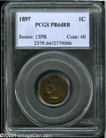 1897 1C PR64 Red and Brown PCGS. A Choice, brightly mirrored specimen that is partially overlaid on the obverse in rich...