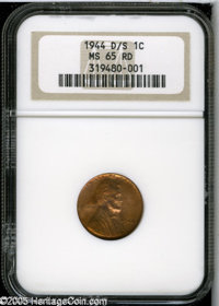 1944-D/S 1C MS65 Red NGC. FS-020. OMM-1. The upper half of a faint but obvious S mintmark looms above the Denver mintmar...