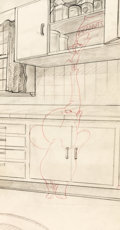 Animation Art:Production Drawing, Jerry and Jumbo Tom and Jerry Pan Background Layout Drawing(MGM, 1953). ...