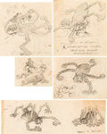 Animation Art:Production Drawing, Gulliver Mickey Mickey Mouse and Spider Storyboards Group of 5 (Walt Disney, 1934).... (Total: 5 Original Art)