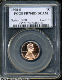1998-S 1C PR70 Deep Cameo PCGS. Immaculate surfaces display a pleasing coppery color and stunning cameo contrast. Exquis...