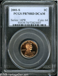 2001-S 1C PR70 Deep Cameo PCGS. A flawless, heavily contrasted specimen. Population: 36 in 70 Deep Cameo (4/05). From Th...