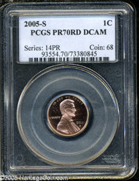 2005-S 1C PR70 Deep Cameo PCGS. An absolutely perfect specimen, as bright and sharp as if it had just been struck. From...