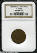 1864 2C Small Motto MS61 Brown NGC. FS-000.5. Breen (1988) notes that a few thousand business strikes in April 1864 came...