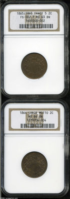 1864 2 Large Motto MS64 Brown NGC, golden-brown and well struck; and an 1865/1865 Fancy 5 MS63 Brown NGC, FS-002.7, cop...