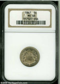 Shield Nickels: , 1867 5C No Rays MS66 NGC. A lustrous Premium Gem that was obviously produced from a relatively fresh pair of dies. The stri...