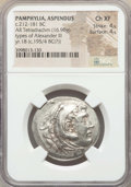 Ancients:Greek, Ancients: PAMPHYLIA. Aspendus. Ca. 212/11-184/3 BC. AR tetradrachm(16.90 gm). NGC Choice XF 4/5 - 4/5....