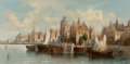 Fine Art - Painting, European:Antique  (Pre 1900), August Friedrich Siegert (German, 1820-1883). Port City. Oilon canvas. 12-1/2 x 25 inches (31.8 x 63.5 cm). Signed lowe...