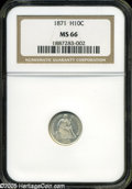 Seated Half Dimes: , 1871 H10C MS66 NGC. A superlative type coin and among the finestcertified survivors of this late date issue, the intensely...
