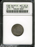Early Dimes: , 1796 10C--Tooled, Bent--ANACS. Fine Details, Net VG8. JR-1, R.3.Recognizable as a JR-1 by the diagnostic die cud by star 1...