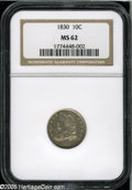 Bust Dimes: , 1830 10C Medium 10C MS62 NGC. JR-8, R.3. The digit 3 in the date islow, and the pales of the third gules stripe are welded...