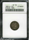 Barber Dimes: , 1895-O 10C--Struck Thru--VF30 ANACS. Dappled pearl-gray and russet patina. A smooth and evenly circulated piece. This low m...