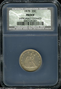 1878 20C Proof, Improperly Cleaned, NCS. Softly detailed on Liberty's head, but well struck otherwise, this mark-free sp...