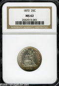 Seated Quarters: , 1872 25C MS62 NGC. Russet patina hugs the lower right (facing)borders on each side. Generally well s truck on the devices....