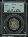 Proof Seated Quarters: , 1884 25C PR65 PCGS. Electric-blue, rose-red, and olive colorsdominate this needle-sharp and carefully preserved specimen. ...