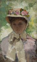 Fine Art - Painting, American:Antique  (Pre 1900), William Henry Lippincott (1849-1920). The Flowered Hat,1895. Oil on board. 12-3/4 x 7-1/2 inches (32.38 x 19.05 cm). Si...