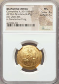 Ancients:Byzantine, Ancients: Constantine X Ducas (AD 1059-1067). AV histamenon nomisma(4.45 gm). NGC MS 4/5 - 4/5....