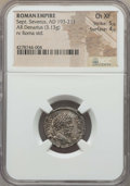 Ancients:Ancient Lots  , Ancients: ANCIENT LOTS. Roman Imperial. Severan Era. Ca. AD193-217. Lot of three (3) AR and AE issues. NGC VF-Choice XF....(Total: 3 coins)