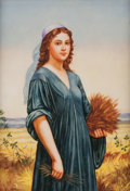 Decorative Arts, Continental:Other , A Large German Porcelain Plaque Depicting Ruth. 17-1/2 h x 14 w x 1d inches (44.5 x 35.6 x 2.5 cm) (framed). ...