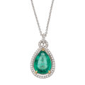Estate Jewelry:Pendants and Lockets, Emerald, Diamond, Gold Pendant-Necklace. ...