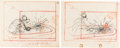 Animation Art:Production Drawing, Mickey's Fire Brigade Gag/Clarabelle Cow and Donald DuckLayout Drawings Group of 4 (Walt Disney, 1935).... (Total: 4Original Art)