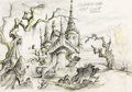 Animation Art:Concept Art, Scooby-Doo, Where Are You! Background Layout Drawing (Hanna-Barbera, c. 1970s)....