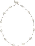 Estate Jewelry:Necklaces, Diamond, Cultured Pearl, White Gold Necklace, Assil. ...