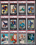 Football Cards:Lots, 1950's - 1980's Football Graded Cards & Wrapper Collection (24). ...