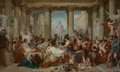 Fine Art - Painting, European:Antique  (Pre 1900), After Thomas Couture. Roman Decadence. Oil on canvas. 61-1/2x 102-1/4 inches (156.2 x 259.7 cm) (sight). ...