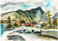 "Animation Art:Production Drawing, Retta Scott - ""Bridge in Hawaii"" Landscape Painting (Walt Disney,1959)...."