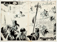 Joe Kubert Showcase #86 Firehair Double Splash Page Original Art (DC Comics, 1969).... (Total: 2 Original Art)