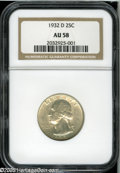 Washington Quarters: , 1932-D 25C AU58 NGC. Lightly worn on the highpoints, with pleasing,trivially abraded surfaces and pale toning. A very Choi...