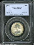 Washington Quarters: , 1934 25C Medium Motto MS67 PCGS. Cartwheel luster readilypenetrates the original pearl-gray and reddish-golden patina. An...